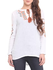 White Cotton Crepe Embroidered Long Sleeved Top - By