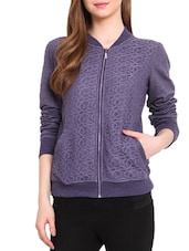 Purple Fleece Printed Long Sleeved Jacket - By