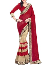 Red And Beige Embroidered Georgette Saree - By