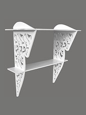 White Wooden Wall Bracket With Abstract Cutwork - By