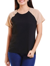 Black Color Blocked Polyester Top - By