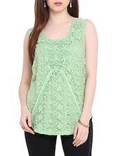 Embroidered Sage Green Nylon Top With Back Slit - By