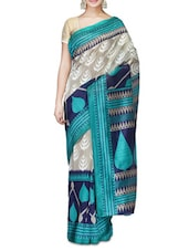 Taupe And Blue Printed Bhagalpuri Silk Saree - By