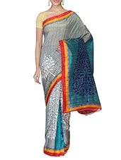 Grey Tree Printed Art Bhagalpuri Silk Saree - By