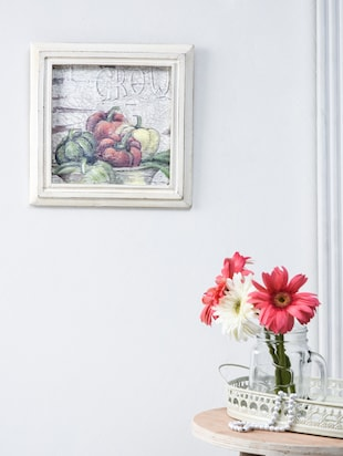 offwhite vegetable print wooden painting