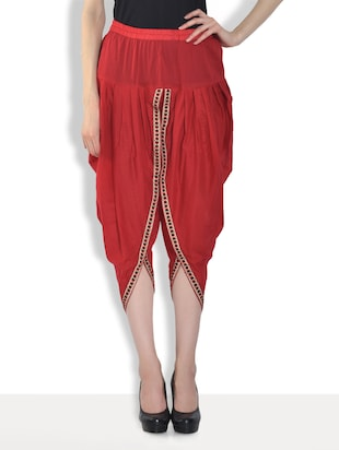 Solid red cotton dhoti pants