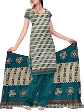 Printed Cotton Jacquard Straight Unstitched Dress Material(Blue,Multi) - By