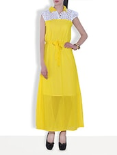 Yellow Polyester Cap Sleeves Maxi Dress - By