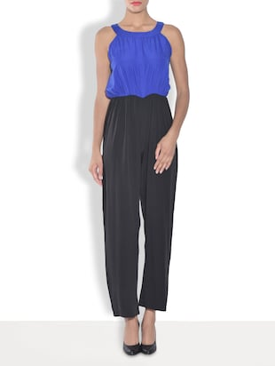 Black and Blue Crepe Jumpsuit