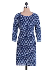 Indigo And White Cotton Printed Kurta - By