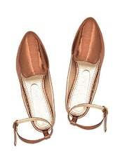 Bronze Faux Leather Ankle Strap Sandals - By