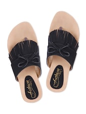 Black Fringed Faux Leather Slip-ons - By