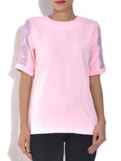 Baby Pink Poly Crepe Sequined Top - By