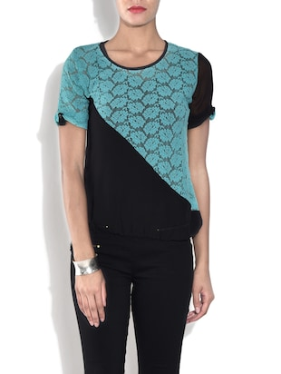 Black and sky blue short sleeved net top