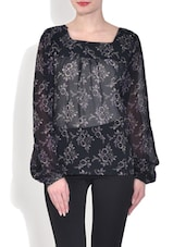 Black Floral Printed Polyester Top - By