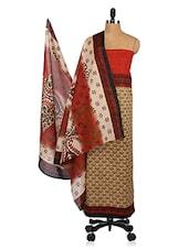Beige & Red Floral Print Unstitched Cotton Suit Set - Shree Ganesh