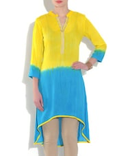 Yellow And Blue Tie And Dye Rayon Kurta - By