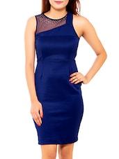 Solid Blue Embellished Viscose Knit Dress - By