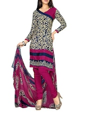 Navy Blue And Beige Printed Suit Set - By