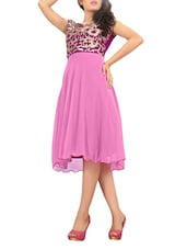 Pink  Georgette Embroidered Party Wear  Kurti - By