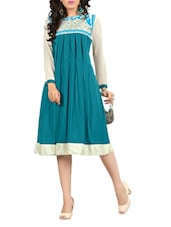 Green & Cream  Georgette Embroidered Party Wear  Kurti - By
