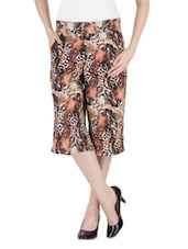 Brown Cotton, Satin And Lycra Animal Printed Divided Skirt - By