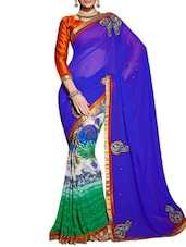 Blue Georgette Patch Worked Saree - By