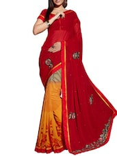 Red Georgette Patch Worked Saree - By