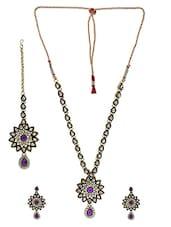 Purple Stones Embellished Kundan Jewellery Set - By