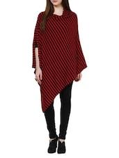 Red And Black Striped Cape Poncho - Pluchi