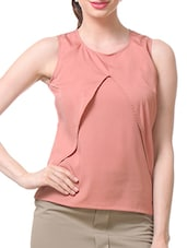 Red Polycrepe Sleeveless Top - By