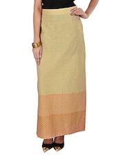 Beige Printed Ankle Length Skirt - 9rasa