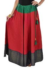 Maroon Printed Long Skirt - 9rasa