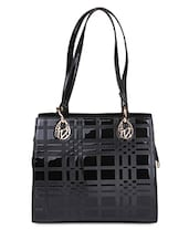 Black Faux Leather  Hand Held Bag - By