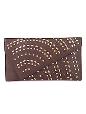Brown Leatherette Cut Worked Sling Bag - By