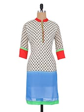 White And Blue Geometric Printed Cotton Layered Long Kurta - By