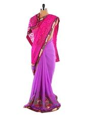 Bright Purple Saree With Pink Aanchal - Sixmeter