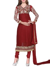 Red Floral Embroidered Semi-stitched Salwar Suit - Sixmeter