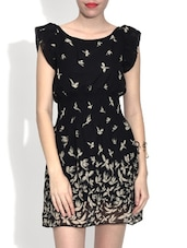 Black Bird Printed Poly Georgette Dress - By