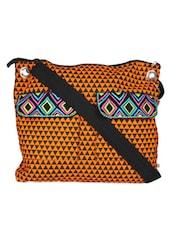 Orange Cross Body Bag With Multi-coloured Pocket Flaps - Pick Pocket