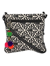 Black And White Sling Bag With A Tassel - Pick Pocket