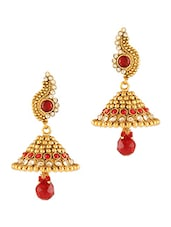 Gold and Red Crystal Studded Earrings -  online shopping for Body Jewellery