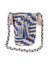 Blue And Beige Rug Jhola Bag - Diwaah