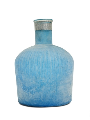 Turquoise Glass Bottle Shaped Vase