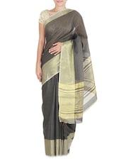 Grey Cotton Silk Gold Bordered Saree - By