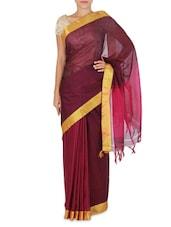 Magenta Cotton Silk Gold Bordered Saree - By