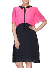 Pink And Black Georgette Dress - By