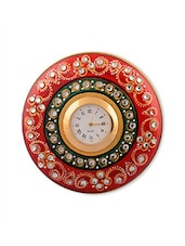 Red Marble Table Clock - By