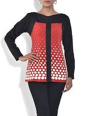 Burnt Red And White Dotted Viscose Top - By