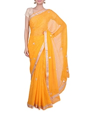 Yellow Georgette  Sequin Worked Saree - By